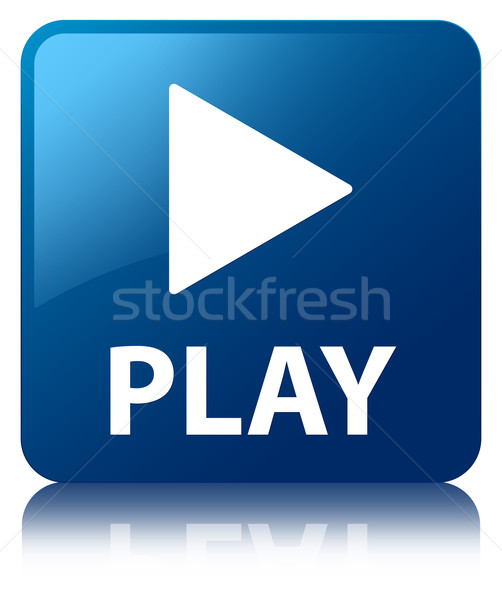 Play glossy blue reflected square button Stock photo © faysalfarhan