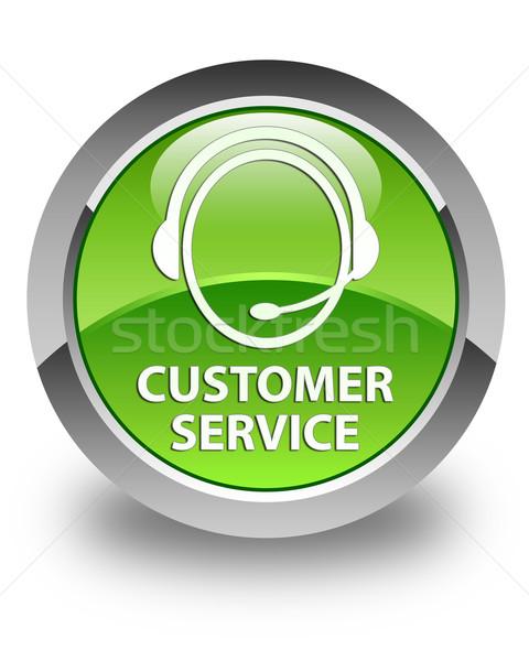 Customer service glossy green round button Stock photo © faysalfarhan