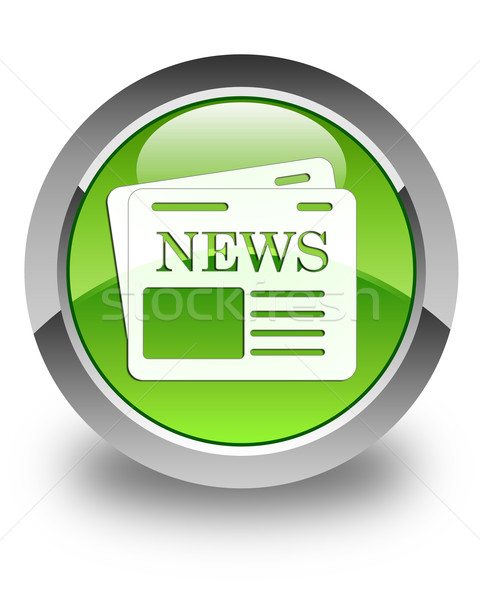 Newspaper icon glossy green round button Stock photo © faysalfarhan