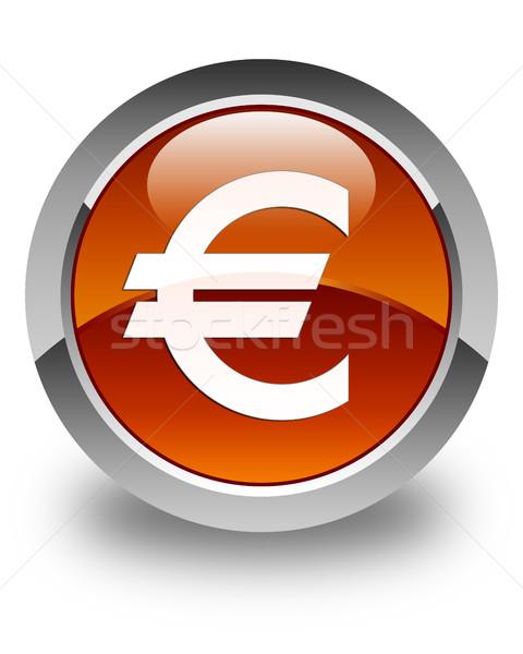 Euro sign icon glossy brown round button Stock photo © faysalfarhan