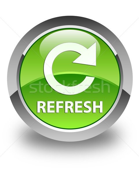 Refresh (rotate icon) glossy green round button Stock photo © faysalfarhan