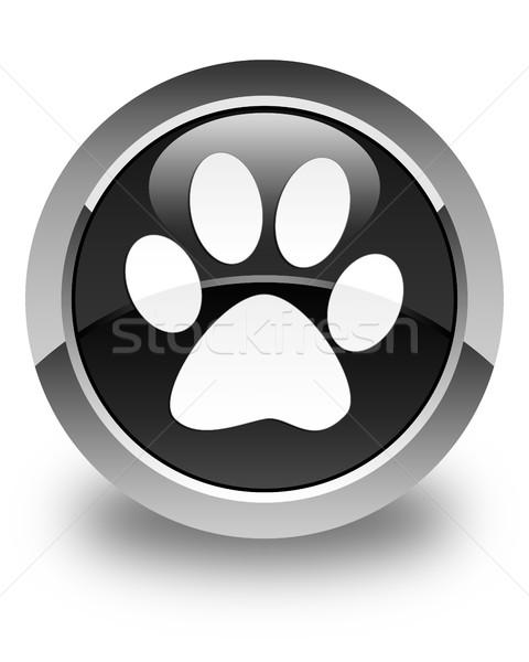 Hayvan ayak izi ikon parlak siyah düğme Stok fotoğraf © faysalfarhan