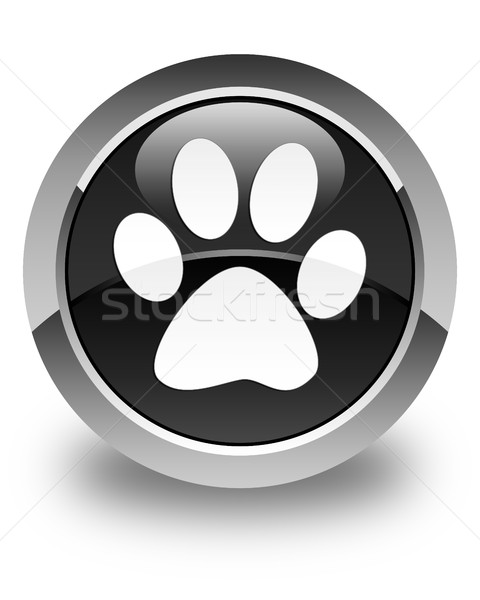 Animal footprint icon glossy black round button Stock photo © faysalfarhan