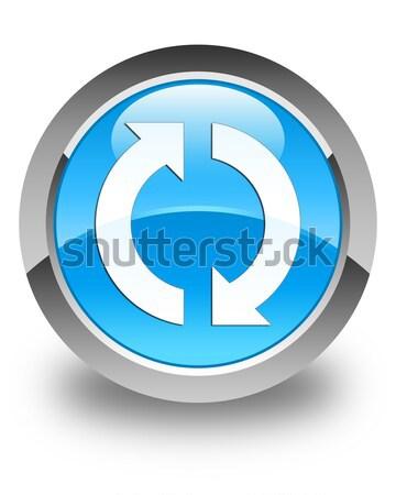 Frissítés ikon fényes kék gomb felirat Stock fotó © faysalfarhan