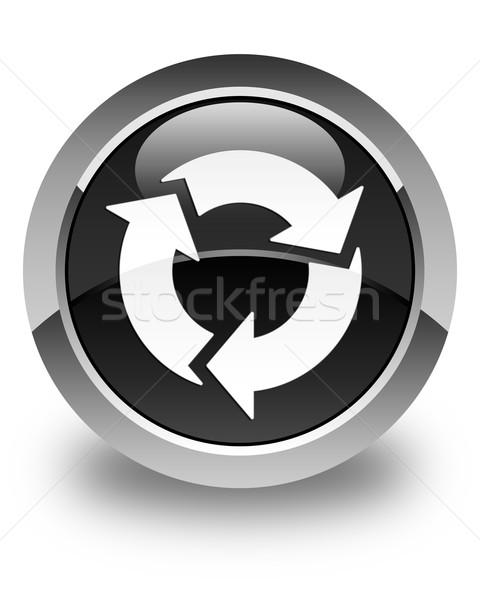 Frissít ikon fényes fekete gomb felirat Stock fotó © faysalfarhan