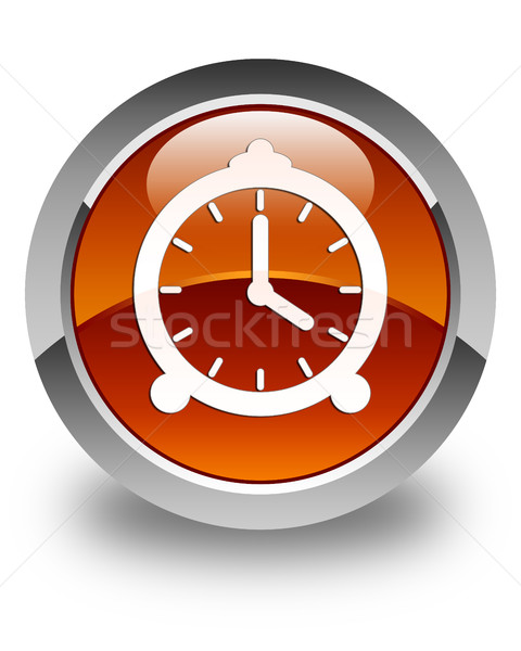 Alarm clock icon glossy brown round button Stock photo © faysalfarhan