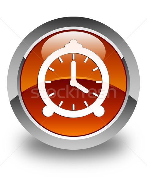 Wekker icon glanzend bruin knop klok Stockfoto © faysalfarhan