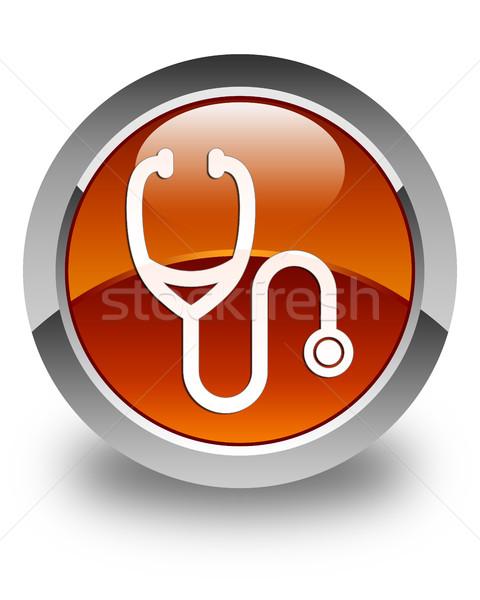 Stetoskop ikon parlak kahverengi düğme tıbbi Stok fotoğraf © faysalfarhan