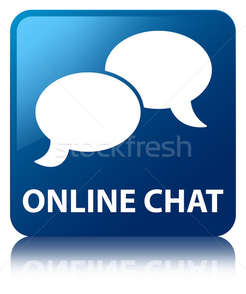 Online chat (talk bubble icon) glossy blue reflected square butt Stock photo © faysalfarhan