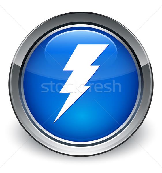 Eletricidade ícone azul botão teia Foto stock © faysalfarhan