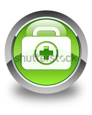 First aid kit icon glossy green round button Stock photo © faysalfarhan