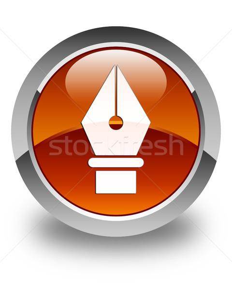 пер икона коричневый кнопки школы Сток-фото © faysalfarhan