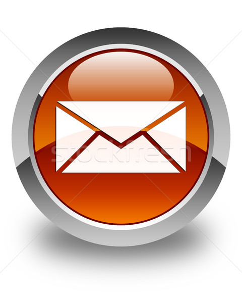 Email icon glossy brown round button Stock photo © faysalfarhan