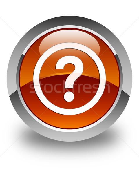 Question icon glossy brown round button Stock photo © faysalfarhan