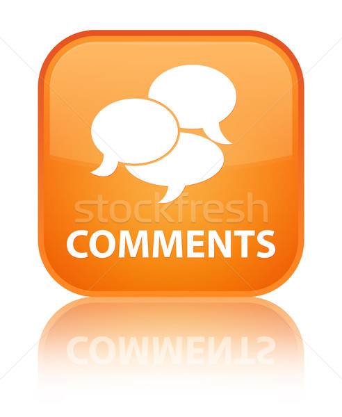 Comments glossy orange reflected square button Stock photo © faysalfarhan