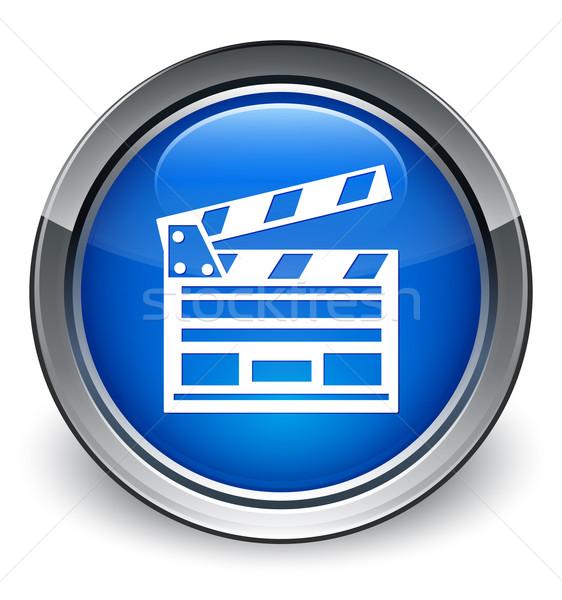 Cinema clip icon glossy blue button Stock photo © faysalfarhan