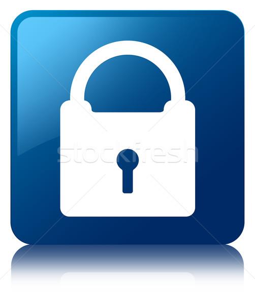 Padlock icon glossy blue reflected square button Stock photo © faysalfarhan