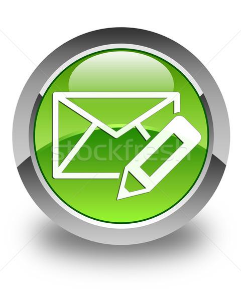 Edit email icon glossy green round button Stock photo © faysalfarhan