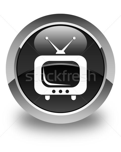 TV icon glossy black round button Stock photo © faysalfarhan