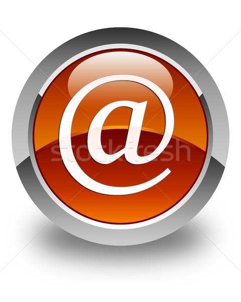 E-Mail Anschrift Symbol glänzend braun Taste Stock foto © faysalfarhan
