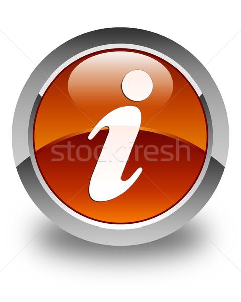 Információ ikon fényes barna gomb felirat Stock fotó © faysalfarhan