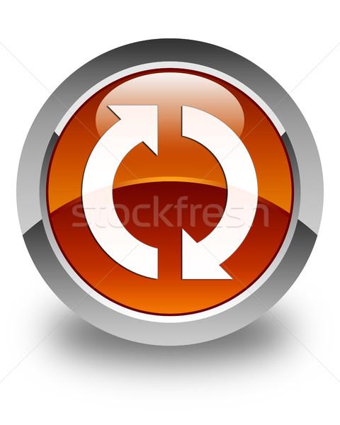 обновление икона коричневый кнопки знак Сток-фото © faysalfarhan