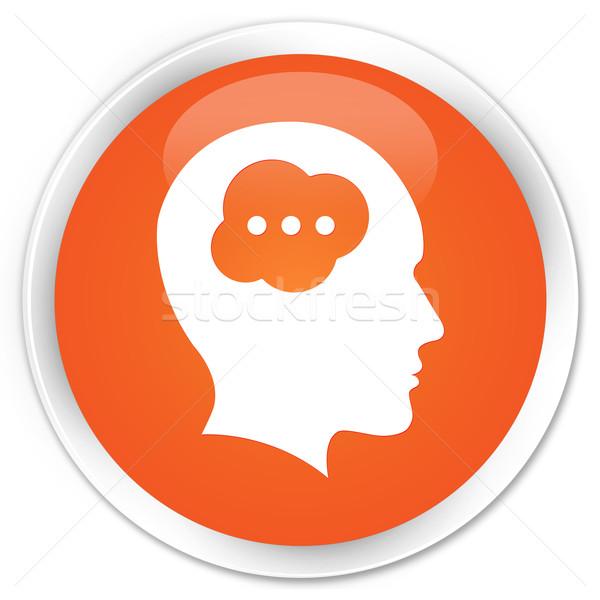 Idea head icon orange button Stock photo © faysalfarhan