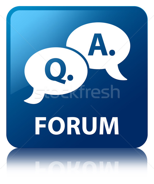 Forum (Question Answer bubble icon) glossy blue reflected square Stock photo © faysalfarhan