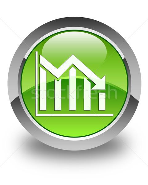 Statisztika lefelé ikon fényes zöld gomb Stock fotó © faysalfarhan