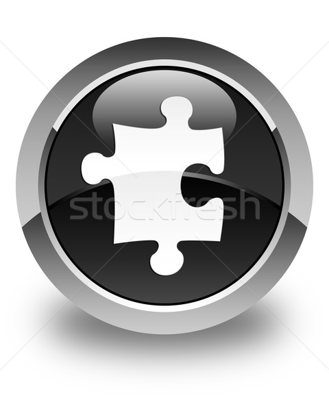 Foto d'archivio: Puzzle · icona · lucido · nero · pulsante · servizio