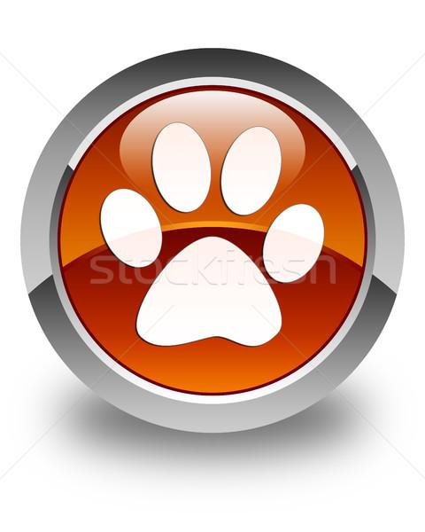 Animal pegada ícone marrom botão Foto stock © faysalfarhan