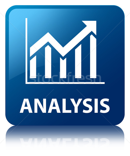 Analysis (statistics icon) glossy blue reflected square button Stock photo © faysalfarhan