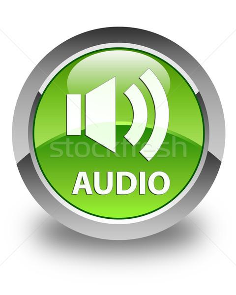 Audio glossy green round button Stock photo © faysalfarhan