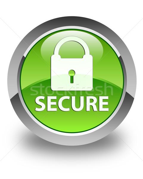 Secure glossy green round button Stock photo © faysalfarhan