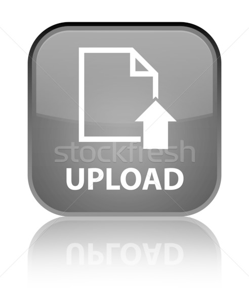 Upload glossy black reflected square button Stock photo © faysalfarhan