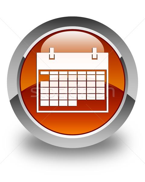 Calendar icon glossy brown round button Stock photo © faysalfarhan