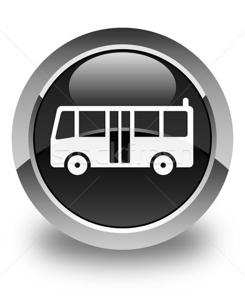 Bus icon glossy black round button Stock photo © faysalfarhan