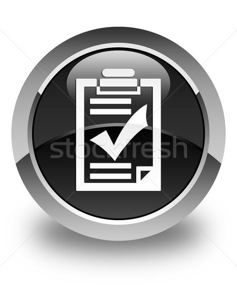 Checklist icon glossy black round button Stock photo © faysalfarhan