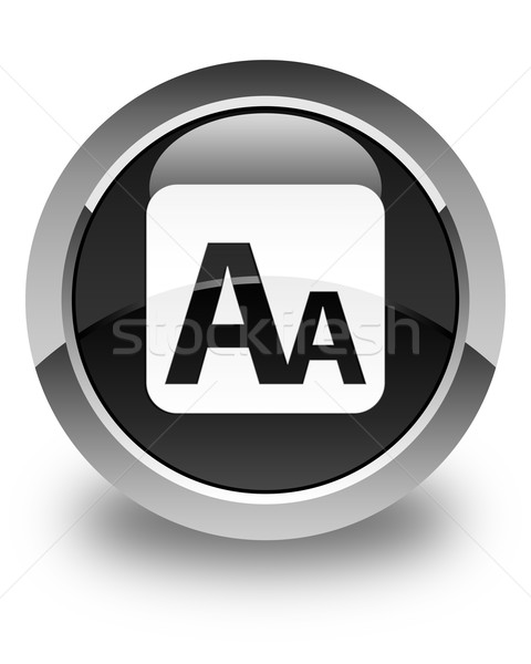 Font size box icon glossy black round button Stock photo © faysalfarhan