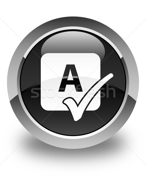 Spell check icon glossy black round button Stock photo © faysalfarhan