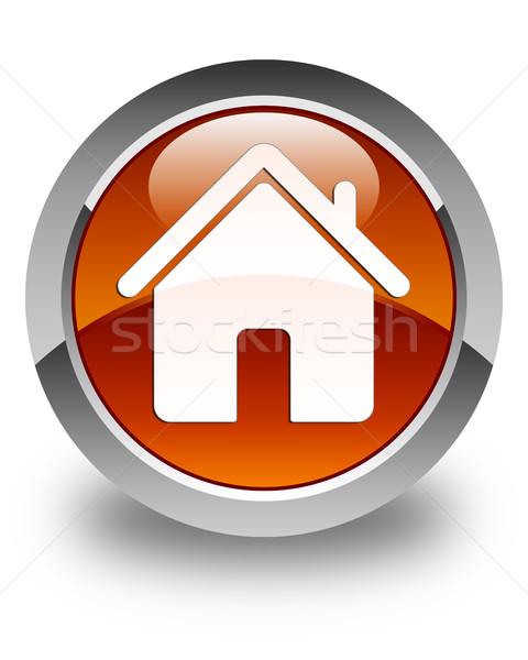 Otthon ikon fényes barna gomb ház Stock fotó © faysalfarhan