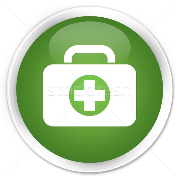 Pierwsza pomoc ikona zielone przycisk krzyż Zdjęcia stock © faysalfarhan