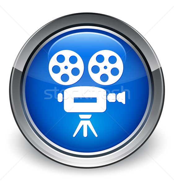 Video camera icon glossy blue button Stock photo © faysalfarhan