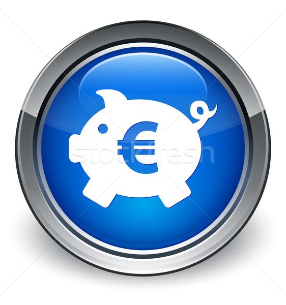 Piggy bank (euro sign) icon glossy blue button Stock photo © faysalfarhan