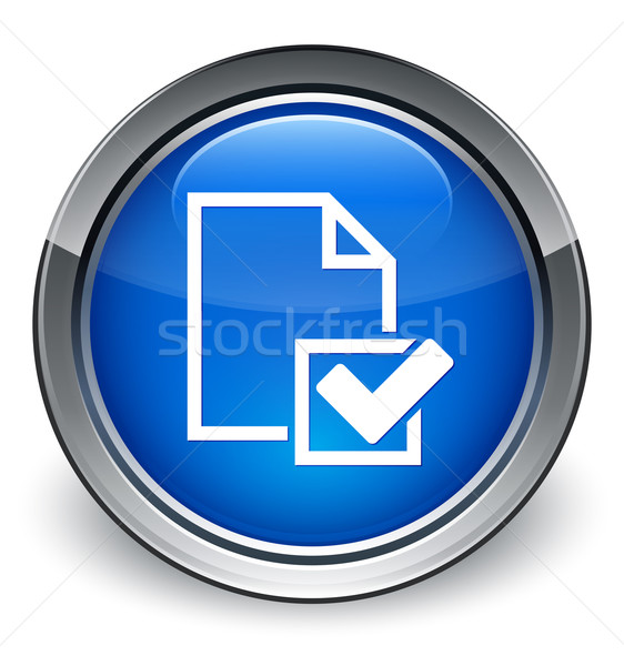 Checklist page icon glossy blue button Stock photo © faysalfarhan