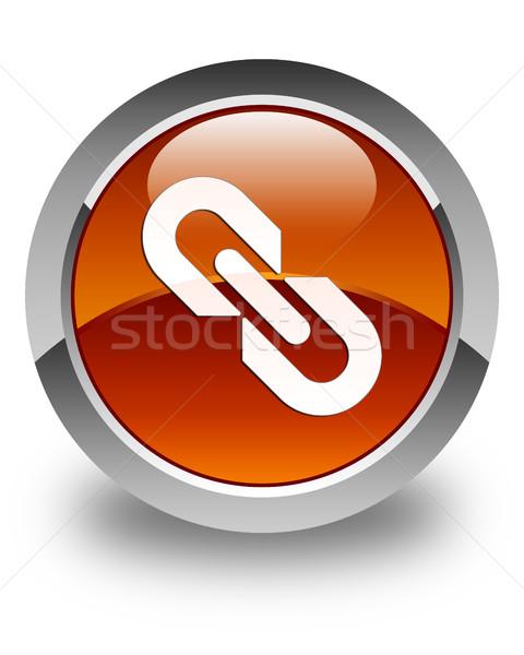 Link icon glossy brown round button Stock photo © faysalfarhan