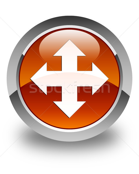 Move icon glossy brown round button Stock photo © faysalfarhan