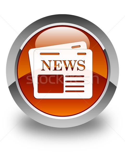 újság ikon fényes barna gomb levél Stock fotó © faysalfarhan