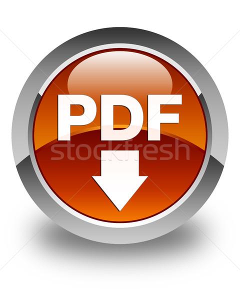 Pdf Download Icon glänzend braun Taste Zeichen Stock foto © faysalfarhan