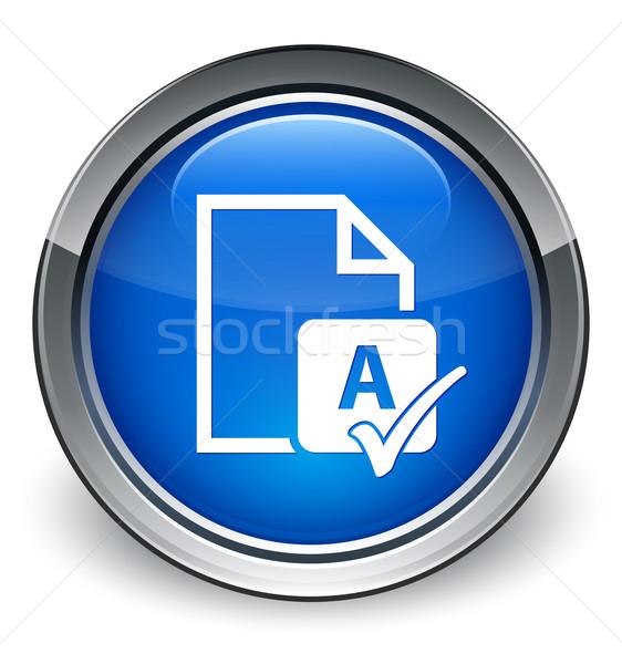 Spell check docoment icon glossy blue button Stock photo © faysalfarhan